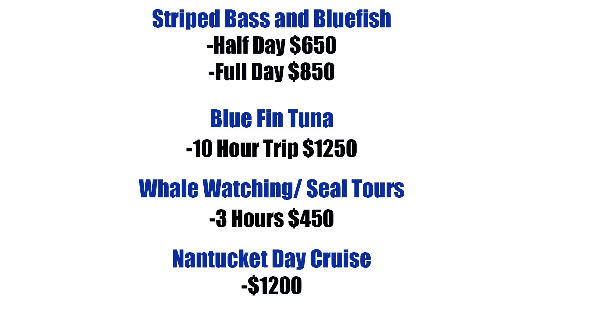 Rainmaker Charters Price List