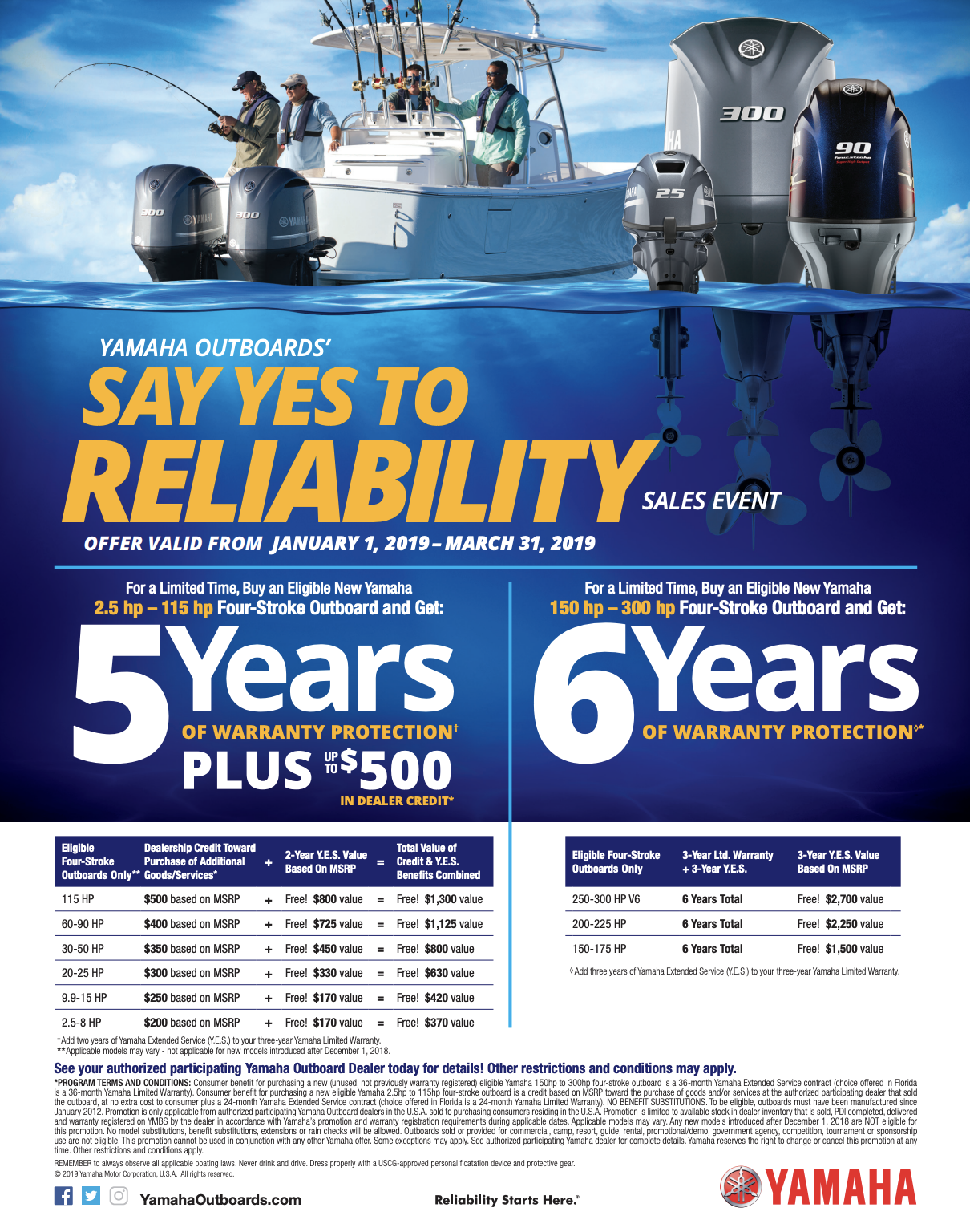 Yamaha Outboards' – Say YES to Reliability Sales Event